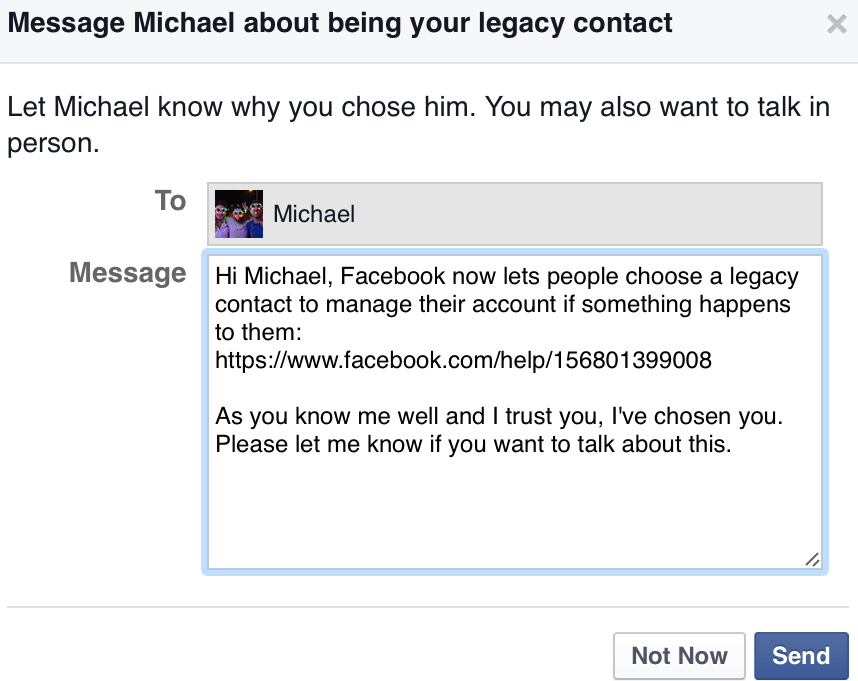 Facebook Legacy Contact Message