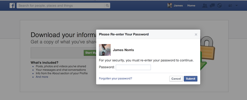 Facebook archieve security
