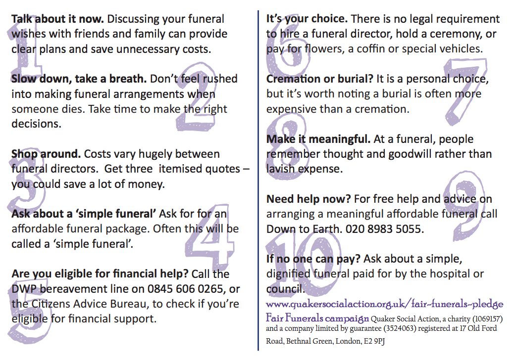 QSA 10 ways to avoid funeral poverty